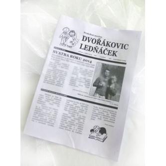 """Doplňková služba k produktu """"Svatební noviny"""". Černobílý tisk, papír formátu A3, bílý."""