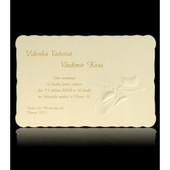Béžové svatební oznámení, kartička, 150x105, slepotisk, motiv klobouků.