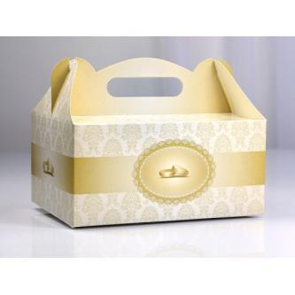 Papírová krabička na výslužky s potiskem (karton), 19x13 cm.