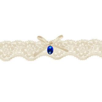 Svatební krajkový podvazek, krémový, zdobený mašličkou a kamínkem, univerzální velikost.