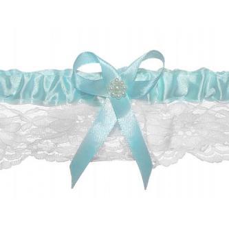 Svatební krajkový podvazek, bílý, zdobený mašličkou s kamínkem, univerzální velikost.