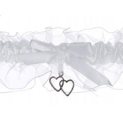 Svatební podvazek atlasový s lemem, bílý
