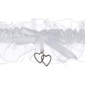 Svatební atlasový podvazek s lemem, bílý, zdobený mašličkou a srdíčky, univerzální velikost.