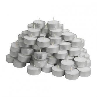 Neparfémované čajové svíčky, balení 100 ks, průměr 38 mm.