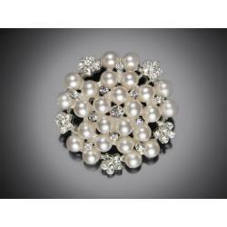 Ozdobná štrasová brož, perla 45 mm