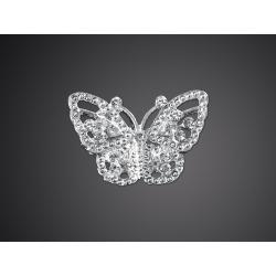 Ozdobná štrasová brož, motýl 20x30 mm