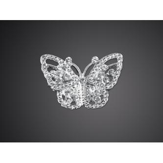 Bižuterní brožs kamínky ve tvaru motýla, velikost 20x30 mm.