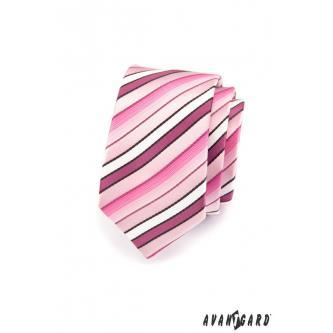 Pánská růžová kravata SLIM zn. Avantgard 551-1495-0