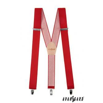 Šle Y s koženým středem a zapínáním na klipy - 35 mm, Červená, béžová kůže