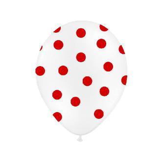 Nafukovací balónek s potiskem, puntíkovaný. Velikost balónku cca 25 cm. Cena za 1 ks.