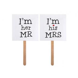 Cedulky s nápisem pro novomanžele, úžasná rekvizita pro focení. Hodí se také do fotokoutku pro svatební hosty.