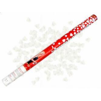 Vystřelující konfety – srdíčka. Bezpečná a jednoduchá manipulace. Skvělá a efektní alternativa svatební rýže či bublifuků. Tubus 80 cm.