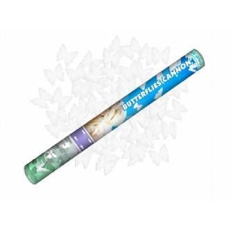 Vystřelující konfety – motýlci. Bezpečná a jednoduchá manipulace. Skvělá a efektní alternativa svatební rýže či bublifuků. Tubus 40 cm.