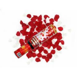 Vystřelovací konfety 30 cm, srdíčka a plátky růží
