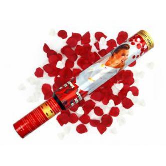 """<p class=""""product-desc"""">Vystřelující konfety – srdíčka a plátky růží. Bezpečná a jednoduchá manipulace. Skvělá a efektní alternativa svatební rýže či bublifuků. Tubus 50 cm."""