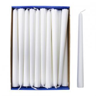 Svíčka kónická, bílá, neparfémovaná, 23 cm.