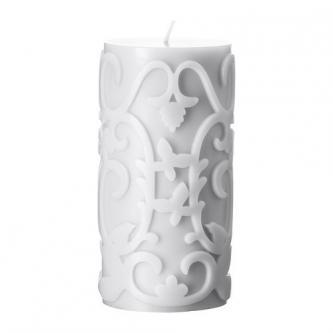 Vonná svíčka s plastickým vzorem šedá/černá, 14cm.
