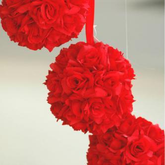 Dekorační koule z umělých květů růže