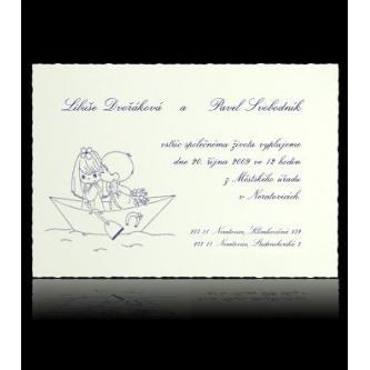 Bílé svatební oznámení, 150x105, motiv lodička.