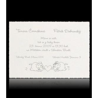 Smetanové kartičkové svatební oznámení, 150x105, motiv slonů, stříbrný tisk.