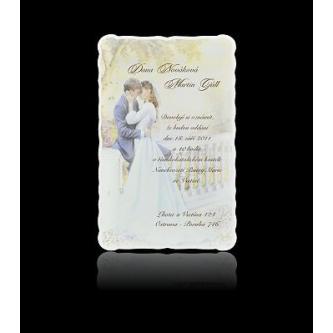 Kartičkové svatební oznámení, 100x150, motiv svatebního páru, tisk hnědou termografií.