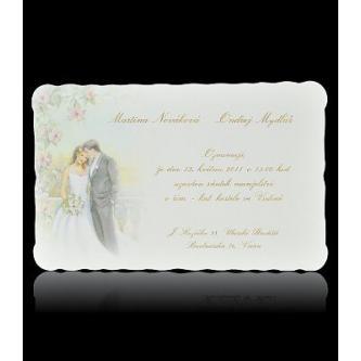Kartičkové svatební oznámení, 151x100, jemný motiv svatebního páru, zlatý tisk.