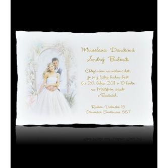 Kartičkové svatební oznámení, 134x93, motiv snoubenců, zlatý tisk.