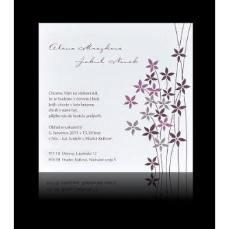 Moderní svatební oznámení, 137x137, květinky ve fialové barvě, fialový tisk.