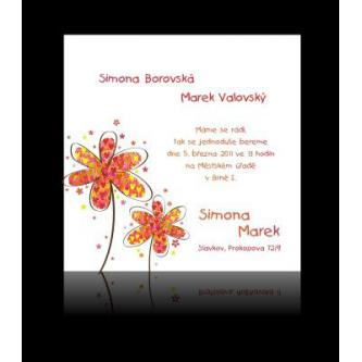 Moderní svatební oznámení, 137x137, žlutooranžové kytičky, červený tisk.