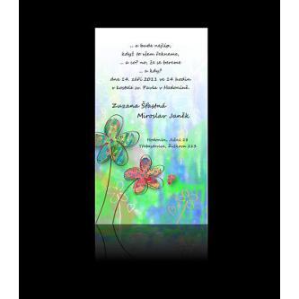 Moderní svatební oznámení 95x170, kartičkové oznámení s mnoha barvami.