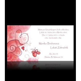 Moderní svatební oznámení 170x95, kartičkové oznámení s motivem barevných srdíček.