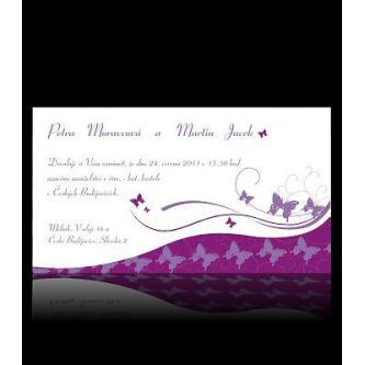 Moderní svatební oznámení 170x95, kartičkové oznámení v tónech fialové s motýlky.
