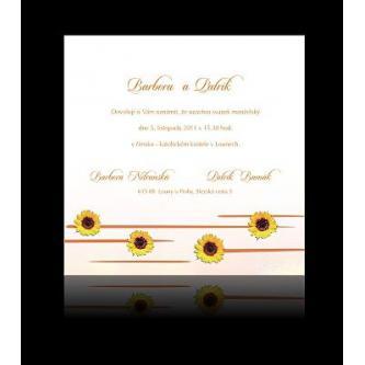 Moderní svatební oznámení, 137x137, motiv slunečnic.