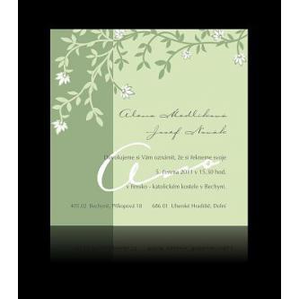 Moderní svatební oznámení, 137x137, zelené.