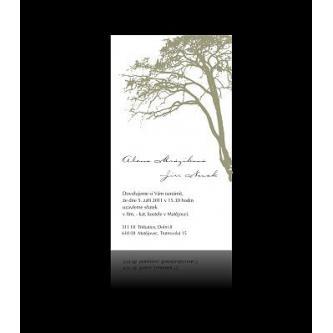 Moderní svatební oznámení 95x170, decentní kartičkové oznámení s motivem stromu.
