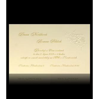 Krémové svatební oznámení, 90x145, kartička, zlatý tisk