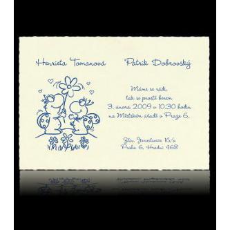 Smetanové veselé svatební oznámení, 105x150, kartička, ocelový plastický tisk.