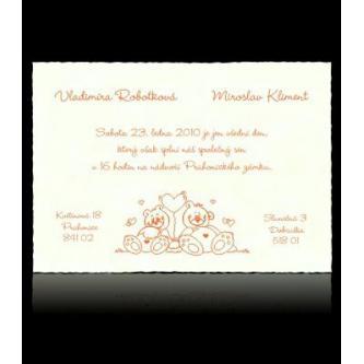 Smetanové kartičkové svatební oznámení, 150x105, motiv medvídků, termografický tisk.