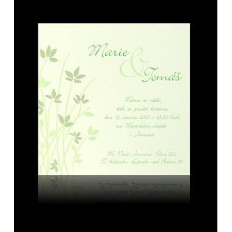 Moderní svatební oznámení 137x137 kartičkové oznámení se zelenými lístky.