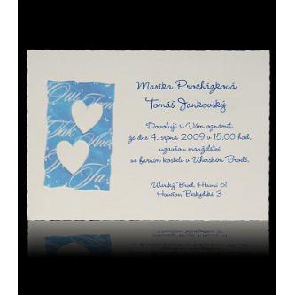 Bílé svatební oznámení s modrou grafikou, 150x105, kartička.