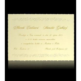Krémové svatební oznámení, kartička, 150x105, zlatý tisk.