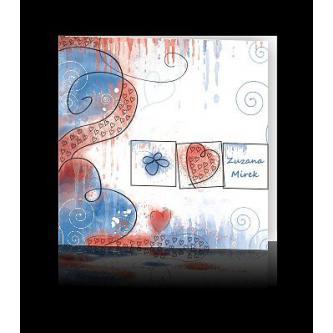 Moderní svatební oznámení 137x137, kartičkové oznámení s barvami modré.