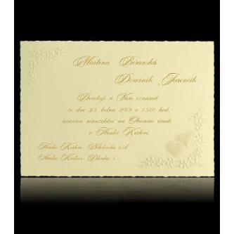 Krémové svatební oznámení, kartička, 150x105, perleťový slepotisk, zlatý tisk.
