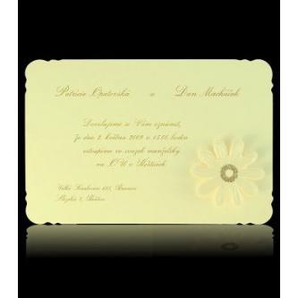 Krémové svatební oznámení, kartička, 150x105, motiv květiny, zlatý tisk.