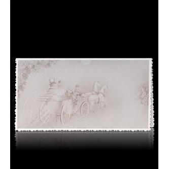 Hnědě otevírací svatební oznámení, 165x85, zlatý tisk.