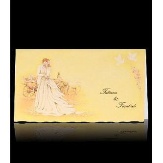 Krémové otevírací svatební oznámení, 160x90, zlaté detaily, hnědý plastický tisk