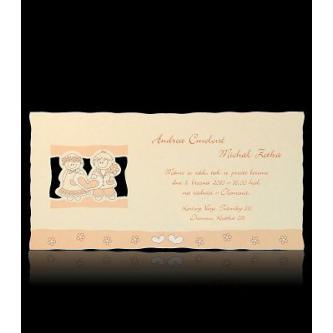 Kartičkové svatební oznámení, 197x100, měděná termografie.