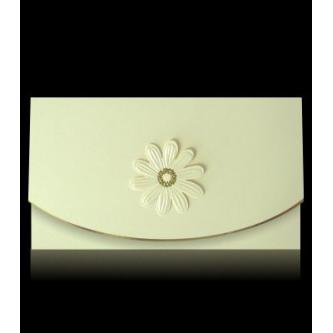 Béžové otevírací svatební oznámení, 160x90, motiv kytičky.