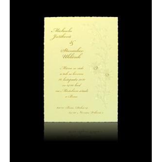 Krémové kartičkové svatební oznámení, 105x150, perleťový papír, zlatý tisk