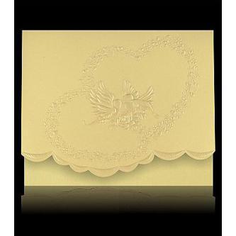 Krémové otevírací svatební oznámení, 124x97, slepotisk, zlatý tisk.